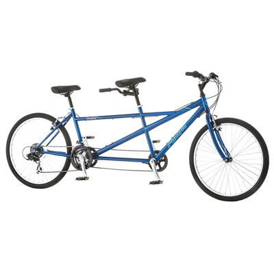 "PACIFIC BICYCLES<sup>&reg;</sup> 26"" Unisex Dualie Tandem - It's a bicycle built for two!  Enjoy this 21-speed sport tandem bike equipped with 26"" wheels, hi-ten steel frame and rigid fork.  You will turn heads when you take this bike out for a spin!"