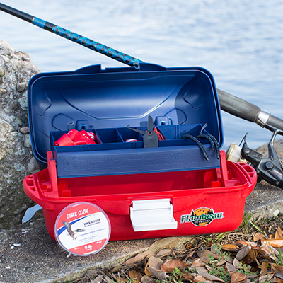 FLAMBEAU OUTDOORS<sup>&reg;</sup> Eagle Claw<sup>&reg;</sup> Go Fish! Extreme Value Tackle Kit - A great tackle kit for the beginner to intermediate angler.  Tray tackle box includes a variety of hooks, rigs, sinkers and tackle to target a range of freshwater species.